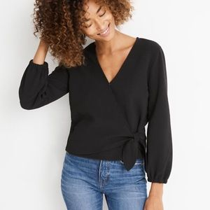 Madewell Texture & Thread Crepe Wrap Top, Small
